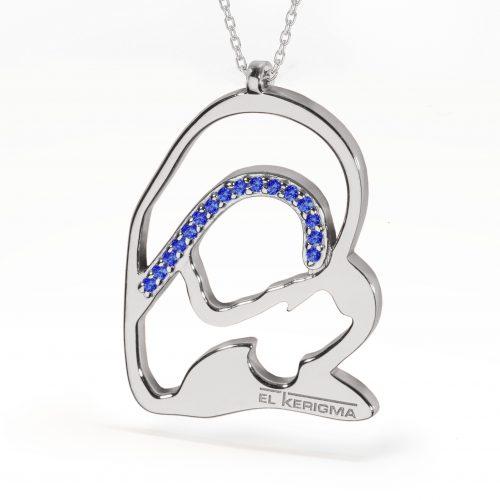 medalla virgen camino neocatecumenal elkerigma plata circonitas azules