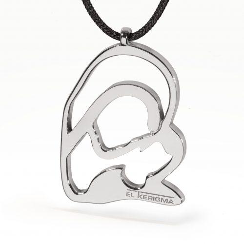 medalla virgen camino neocatecumenal plata lisa con cordón negro