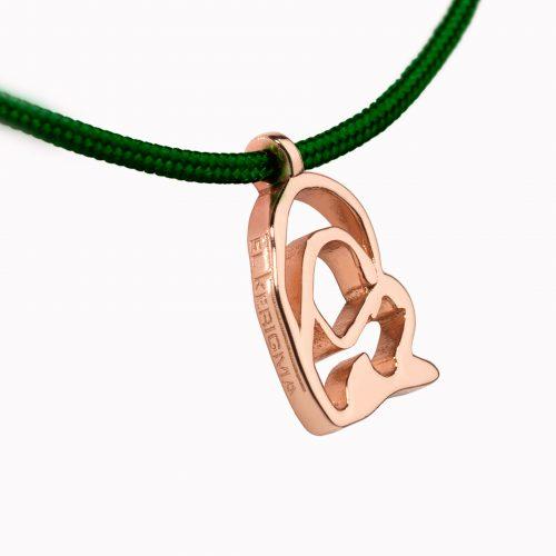 medalla virgen camino neocatecumenal elkerigma plata rosa pequeña cordon verde detalle