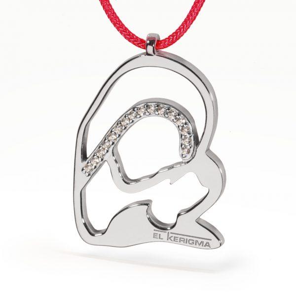 medalla virgen camino neocatecumenal elkerigma plata circonitas cordon rojo