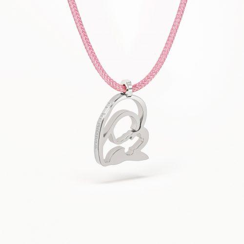 medalla virgen camino neocatecumenal elkerigma plata pequeña cordon rosa