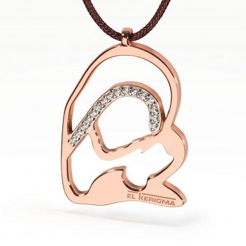 medalla virgen camino neocatecumenal elkerigma plata rosa circonitas cordon marron