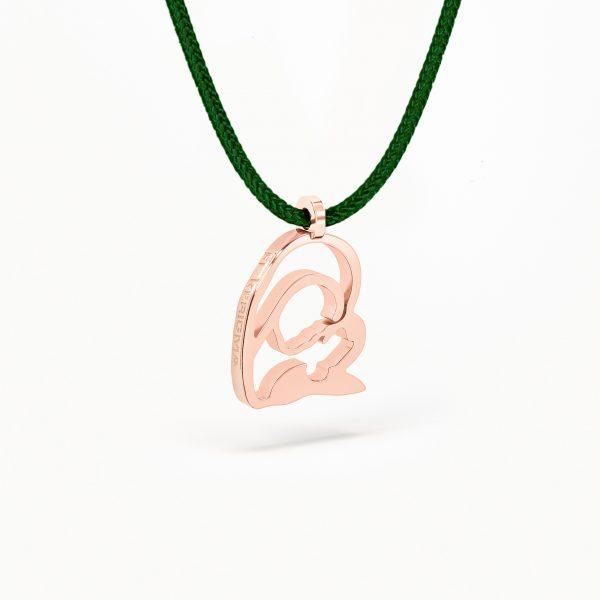 medalla virgen camino neocatecumenal elkerigma plata rosa pequeña cordon verde