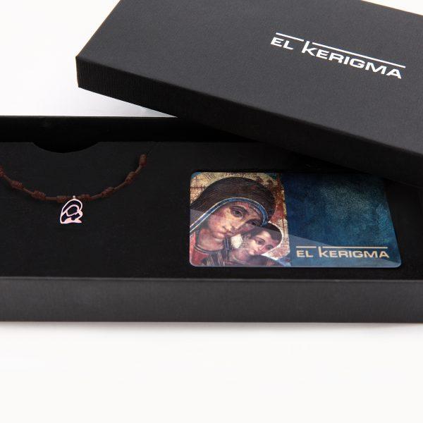 pulsera decenario el kerigma virgen camino neocatecumenal plata rosa cordon marron packaging